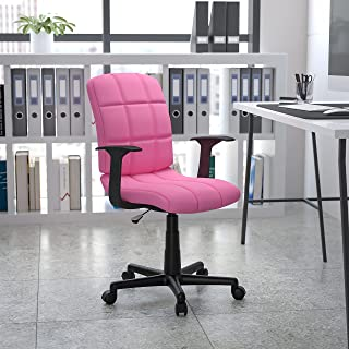 Flash Furniture Mid-Back Quilted Vinyl Swivel Task Chair with Arms, Metal, Pink, 58.42 x 55.88 x 22.86 cm