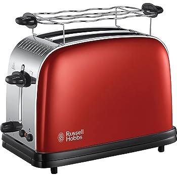 Russell Hobbs Toaster, Grille Pain Extra Large, Cuisson Rapide et Uniforme, Contrôle Brunissage, Chauffe Vionnoiserie - Rouge 23330-56 Colours Plus