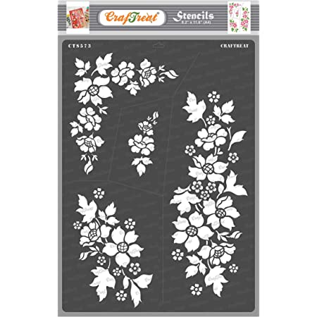 Craftreat Flower Stencil for Craft - A Bunch of Blooms - Size A4 - Reusable DIY Stencils for Painting - Home Decor Stencils for Wall Painting - Flower Burst Stencil