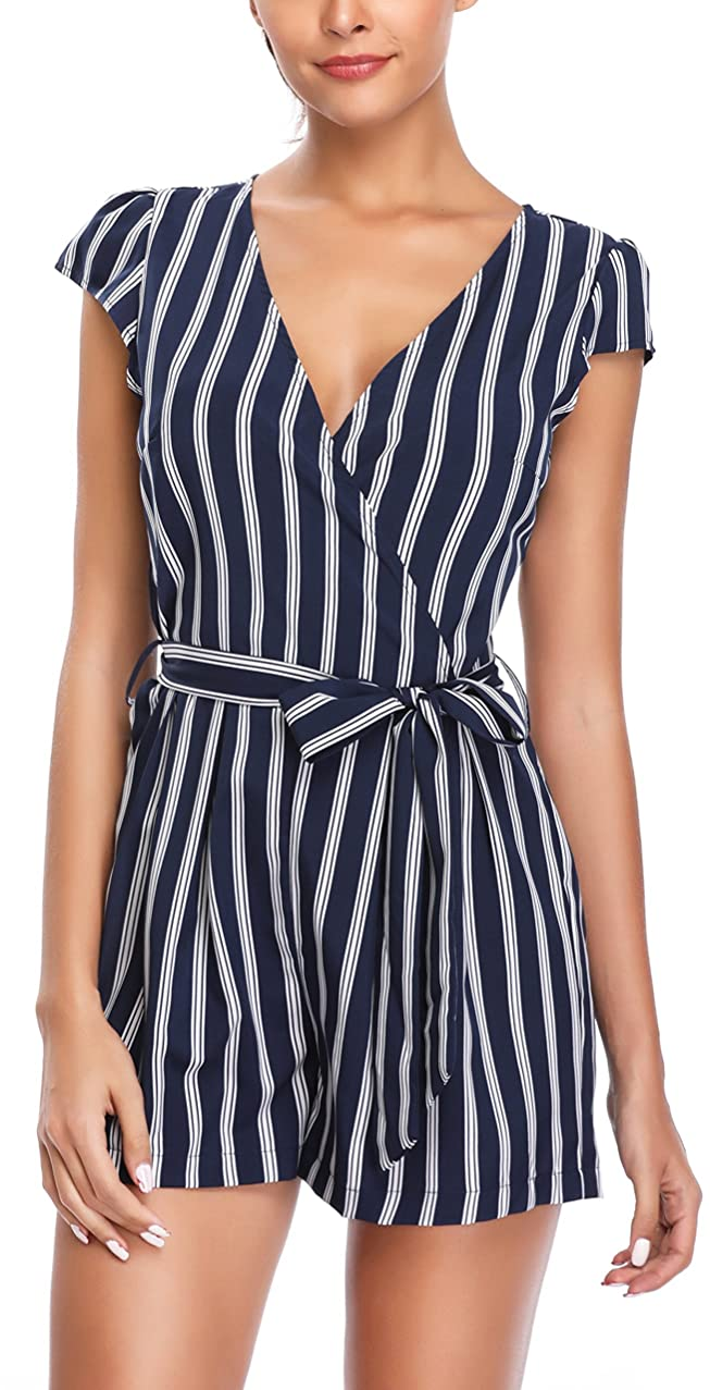MISS MOLY Jumpsuits for Women Summer Rompers Elegant Off The Shoulder Striped 3/4 Sleeves Cute Playsuits Tops Shirts Blouse