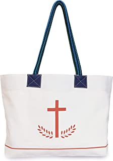 Christian Bag Sacred Heart Cotton Canvas Bag - White Color - Medium Size - Tote Bag Women Shoulder Bag Shopping Tote Multipurpose Bag Day Trip Bag Office Tote School Bag Church Bag Holiday Gift