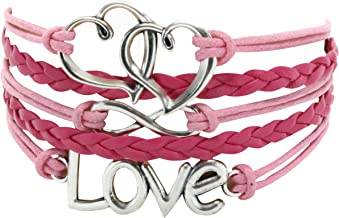 Leather Multilayer Bracelet I Trendy Leather Wrap Charm Bracelet   Genuine Leather Bracelet for Teenage Girls & Young Women. Vintage Rope Multilayer Bracelet with Stainless Steel Charms.