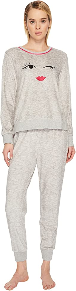 Kate Spade New York Crystal Fleece Wink Pajama Set