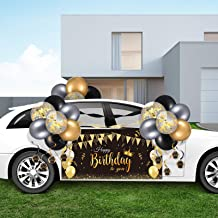 Birthday Parade Car Decorations Kit Happy Birthday Car Banner with Rope Black Golden Latex Balloons Birthday Hanging Swirl...