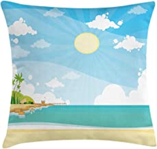 Beach Throw Pillow Cushion Cover, Digitally Generated Sea Shore Summer Vacation, Decorative Square Accent Pillow Case,Pale Sky Blue Turquoise Pale Yellow and Lime Green