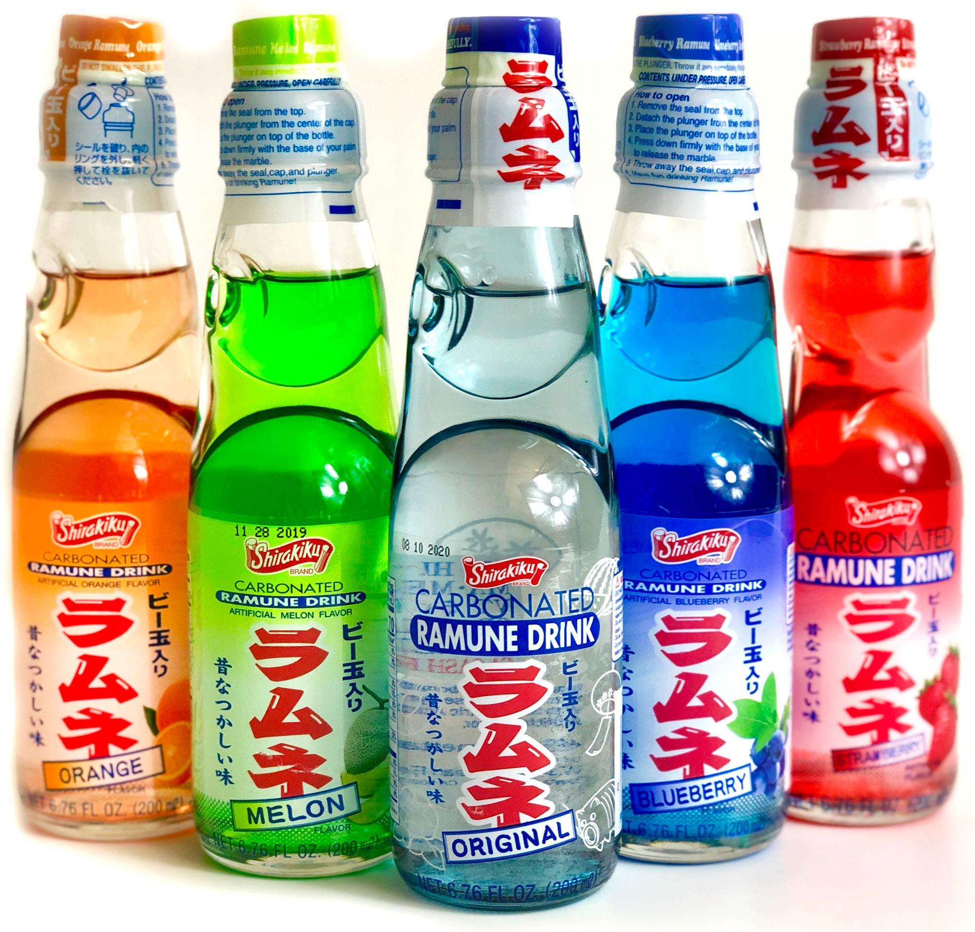 Ramune Japanese Soda Variety Pack - Shirakiku Multiple Flavors - Japanese Drink Gift Box (5 Count)