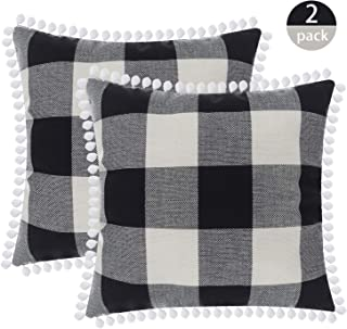 Gingham Buffalo Plaid Throw Pillow Case Linen Blend Decorative Checkered Cushion Cover with Pompom Trims Home Decor for Couch Sofa 18