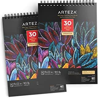 ARTEZA 9X12? Black Sketch Pad, Pack of 2, 60 Sheets (90lb/150gsm), 30 Sheets Each, Spiral-Bound, Heavyweight Paper, Perfec...