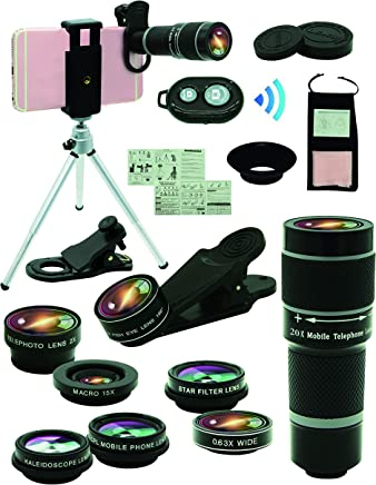 Cell Phone Camera Lens Kit,11 in 1 Universal 20x Zoom...