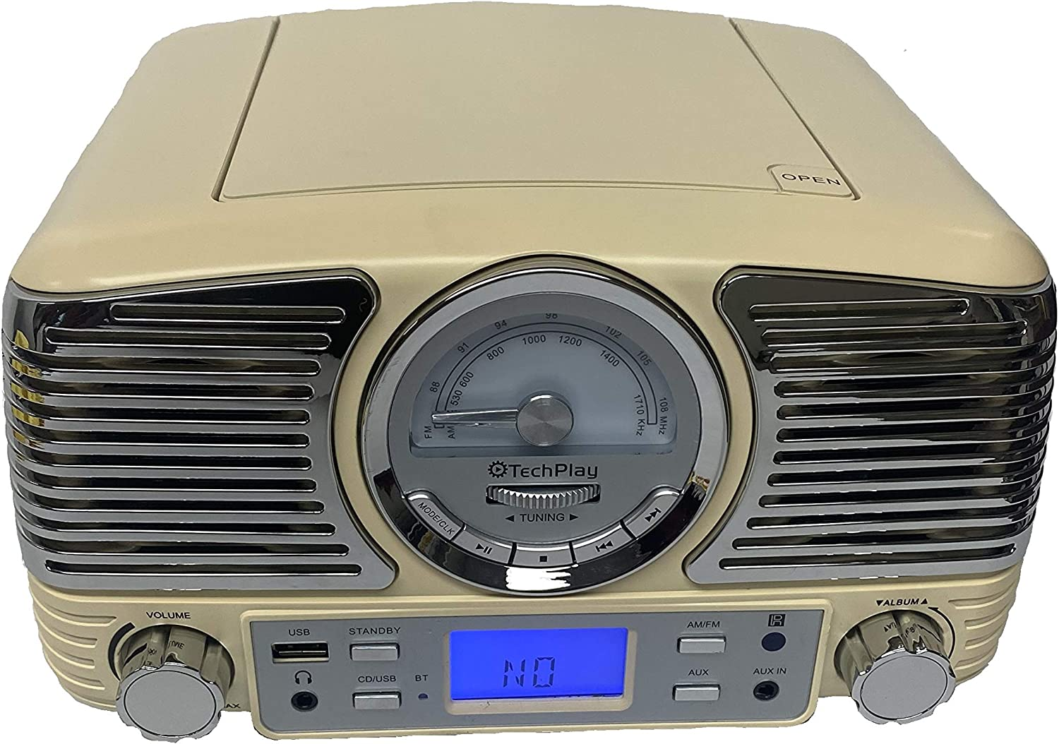 TechPlay QT62BT with AUX in and Headphone Jack and USB Port with AM//FM Rotary knob Wireless Bluetooth Reception Retro Design Compact Stereo CD