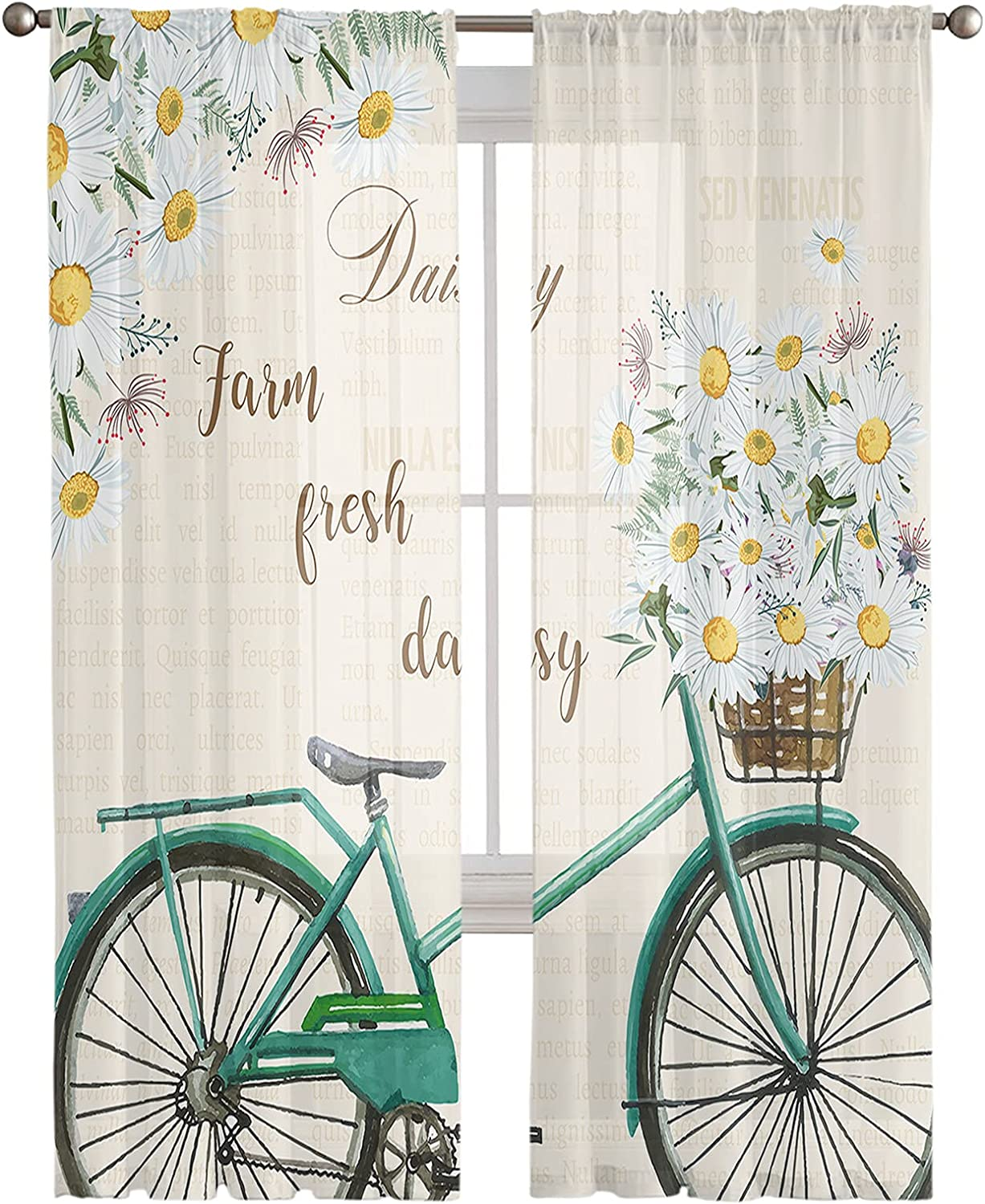 Zadaling Sheer Voile Max OFFicial 77% OFF Curtains with Bloo Draperies-Summer Bycicle