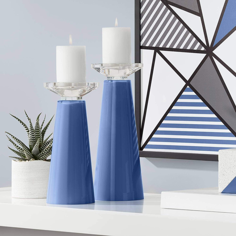 Color Super sale period limited + Plus Meghan Monaco Blue Glass Pillar Set o Holder Candle Price reduction