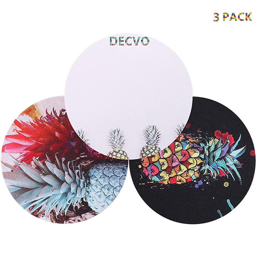 DECVO Gaming Mouse Pad Custom, Cute Colored Hawaiian Pineapple Tropical Abstract Watercolor Painting Art Computer Carpet Mouse Mat Standard 8.5 inch 3 Pack (Black+Gray Color+White Green)