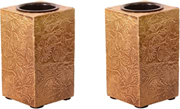 Purpledip Wooden T Light Candle Holders with Brass Sheet Cover (Set of 2) Golden, Indian souvenir, gift (10997)