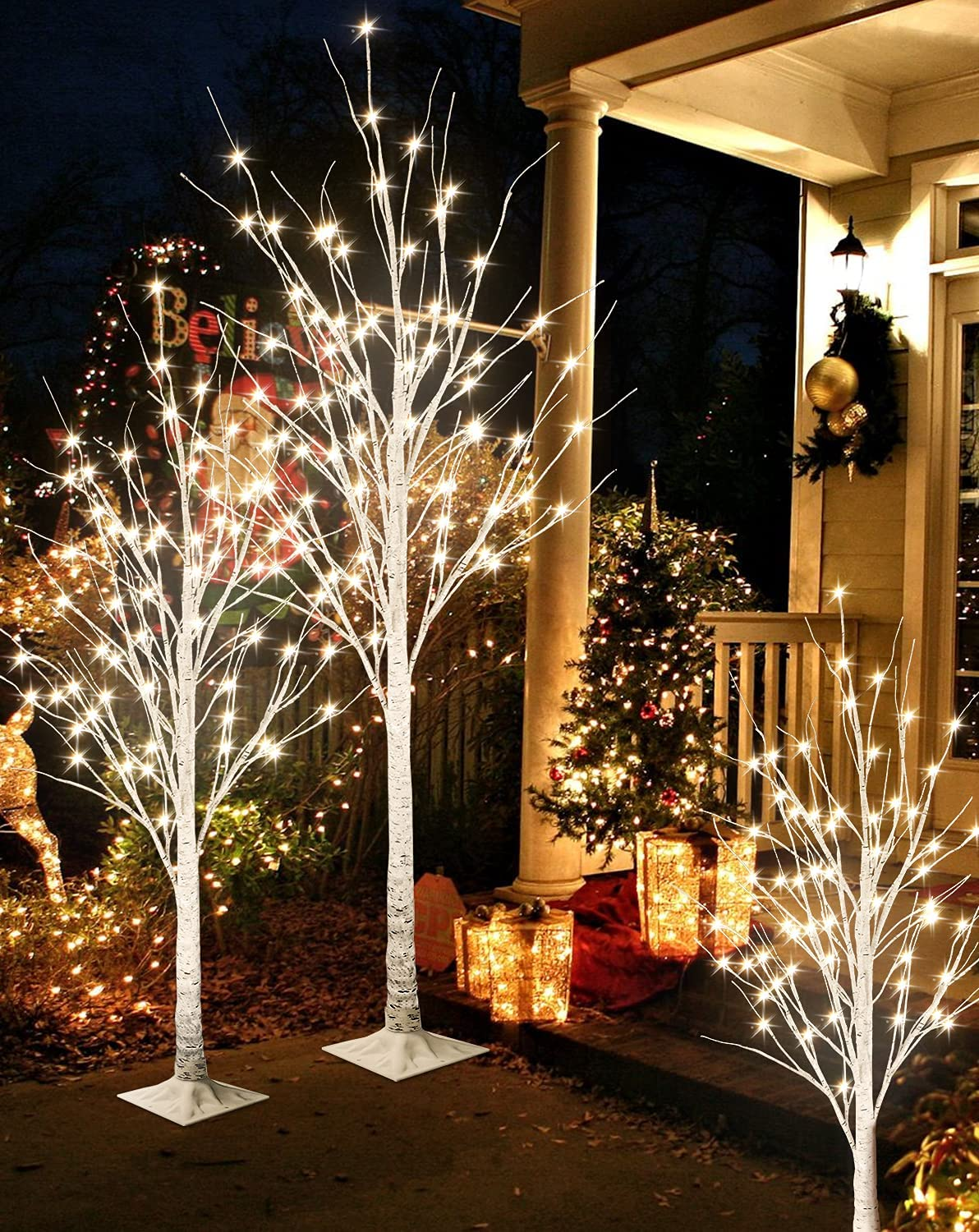 Recaceik LED Lighted Tree Lamp, 3 Pieces Prelit Birch Tree-4ft 5ft 6ft, Inside and Outside, Summer Wedding Christmas Party Home Decor, Warm White