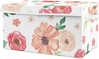 Sweet Jojo Designs Peach and Green Rose Flower Girl Baby Nursery or Kids Room Small Fabric Toy Bin Storage Box Chest for Watercolor Floral Collection
