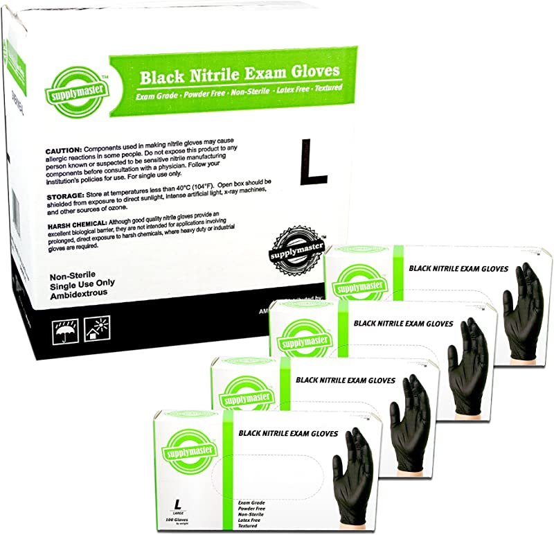 SupplyMaster Black Nitrile Exam Disposable Gloves 4 Mil Powder Free Non Sterile Latex Free Textured Ambidextrous Large Case Of 400