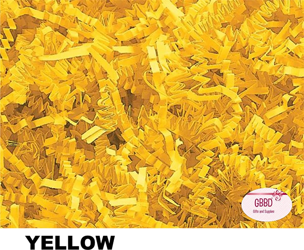 Crinkle Cut Paper Shred Grass Filler for Gift Box Wrapping and Basket Filling in Resealable Bags (Yellow, 1 lb)