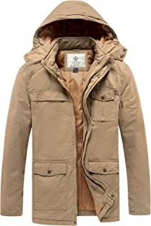 WenVen Men`s Thickened Cotton Quilted Casual Winter Jacket with Detachable Hood