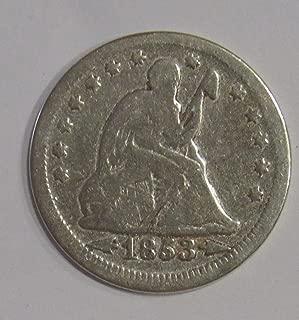 1853 P Seated Liberty Quarter wth arrows 25c Very Good+