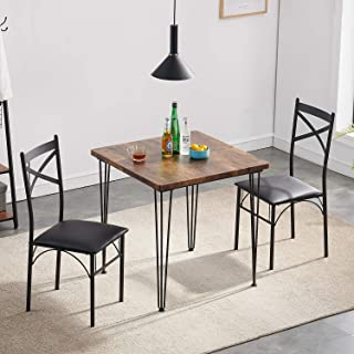VECELO Modern Industrial Style 3-Piece Dining Room...