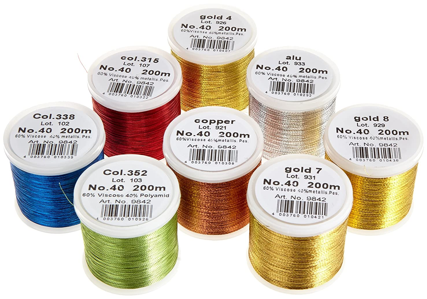 Madeira 8012 'Classic' Embroidery Box With 8 Metallic Bobbins 200 M Each