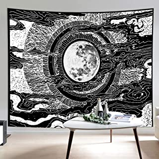 HIPPIH Landscape Wall Hanging Tapestry with Moon and Star Mystic Black & White Tapestries Psychedelic Tapestry for Living Room Bedroom Home Decor Medium Extra Large Size (58.3x79in)(59x51.2in)