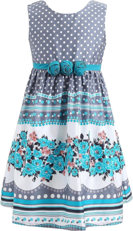 Richie House Big Girls' Gray Dress with Flowers Rh0588 Size 2-10