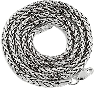 10K White Gold Palm Open Hollow Wheat Chain Necklace with Lobster Lock (2.5mm 3mm 4mm 5mm)