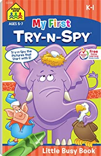 School Zone - My First Try-n-Spy® Workbook - Ages 5 to 7, Kindergarten to 1st Grade, Activity Pad, Search & Find, Picture Puzzles, Hidden Pictures, and More (School Zone Little Busy Book™ Series)