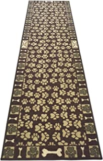 Pet Paw and Bone Design Brown Aqua Blue Printed Slip Resistant Rubber Back Latex Runner Rug (Brown, 23