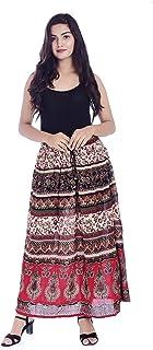Handicraft-Palace Women's Bhandej Printed Rayon Long Shirt High Waist Skirt (Multi)