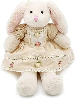 Oitscute Small Soft Stuffed Animal Bunny Rabbit Plush Toy for Baby Girls 15inch (White Rabbit Wearing Yellow Vintage Dress)