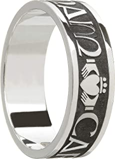 Boru Mens Claddagh Wedding Band Oxidized Silver Mo Anam Cara Made in Ireland