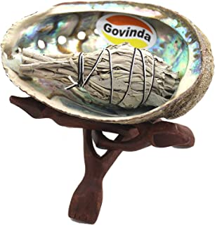 Govinda Pearlized Abalone Shell Smudging Kit with Wooden Tripod Stand & White Sage Stick