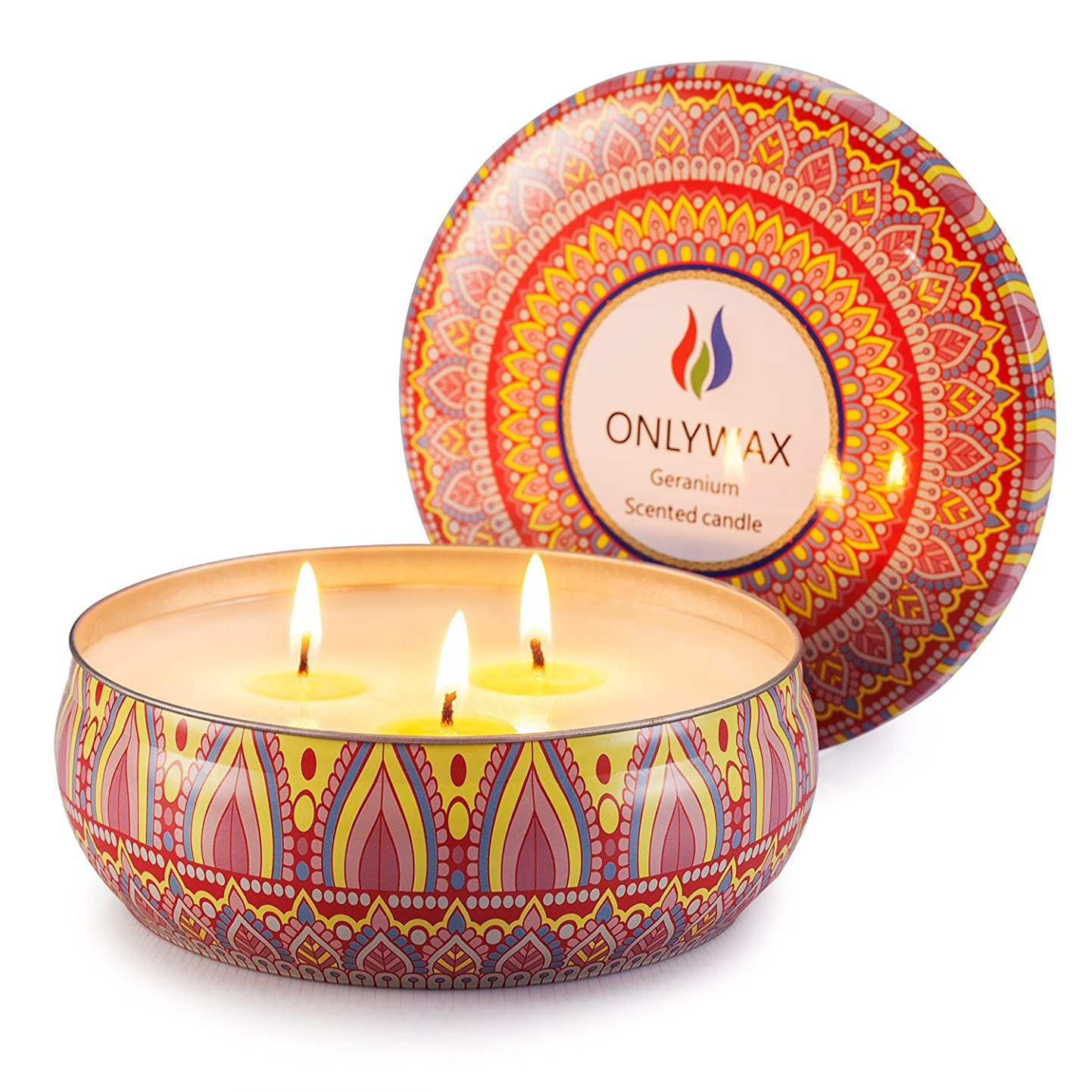 控える変わる山岳Scented Candles Soy Wax 3 Wick Tin 70 Hour Burn,Essential Oils-for Stress Relief and Relaxation,Outdoor and Indoor