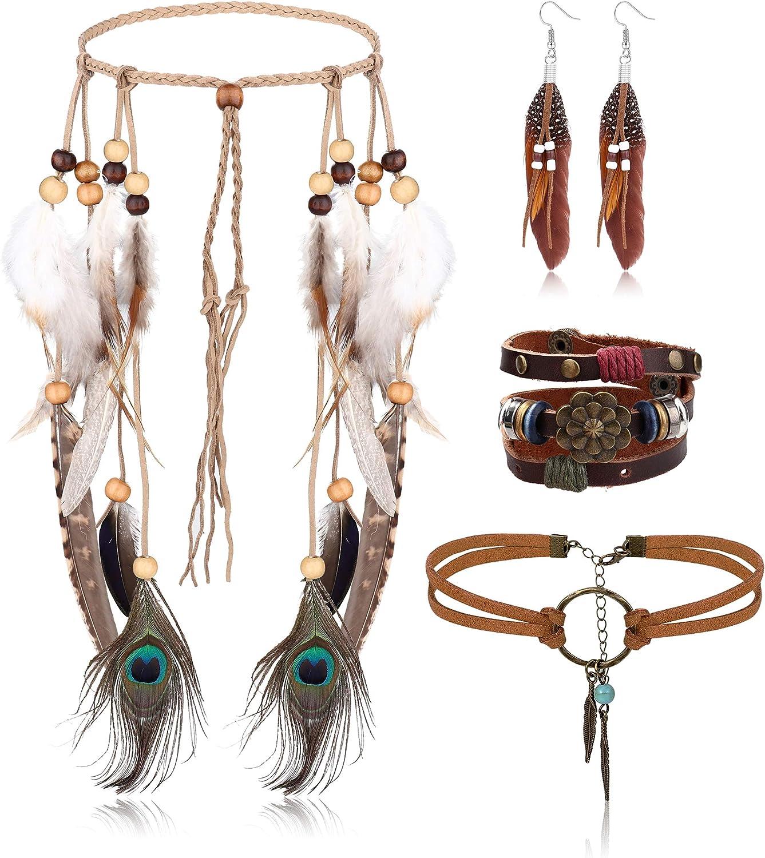 Jstyle Native American Jewelry Set for Women,Indian Feather Headdress Dangle Earrings Leather Suede Choker Necklace Bracelet Hippie Bohemian Retro Jewelry A