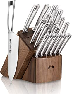 Cangshan TN1 Series 1021974 Swedish Sandvik 14C28N Steel Forged 17-Piece Knife Block Set, Walnut