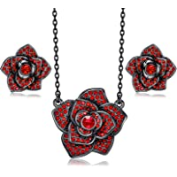 CDE Jewelry Set Rose Necklace and Earrings Set