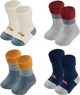 Sponsored Ad - Human Feelings Baby 4 Pack 6-12 Months Terry thick newborn socks registry for gift set toddler socks Unise...