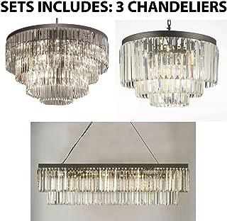 Set of 3-1 Palladium Empress Crystal Glass Fringe Chandelier & 1 Retro Palladium Glass Fringe Rectangular Chandelier & 1 Palladium Crystal Glass Fringe 3-Tier Chandelier
