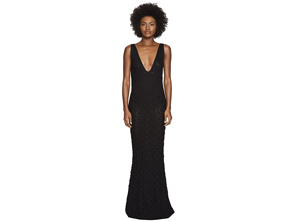 Zac Posen Dandelion Lace Knit Sleeveless Maxi Dress (Black) Women