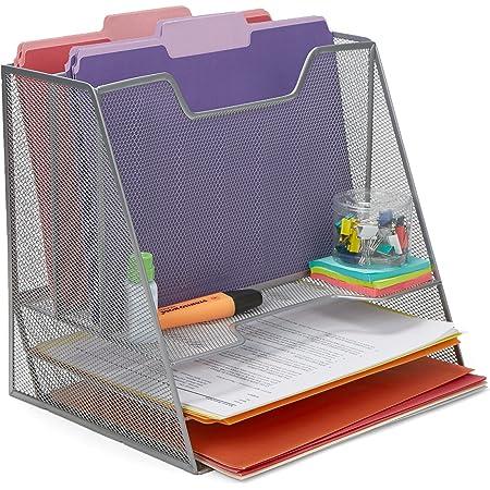 Mind Reader MESHBOX5-SIL 5 Compartment Mesh Desk Storage Organizer, Silver