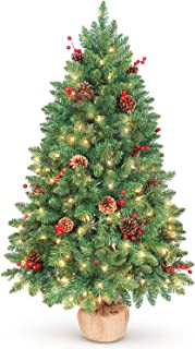 LIFEFAIR 4ft Prelit Christmas Tree, Decorated with 150 Clear Lights and Realistic 380 Thicken Tips, Hinged UL Certified