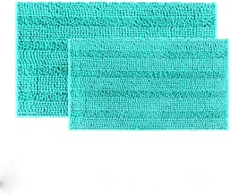 IM Home Extra Soft Teal Bathroom Rugs and Mats Set 2 Pieces Turquoise, Thick Chenille Bath Rugs Non Slip for Bare Feet, Ab...