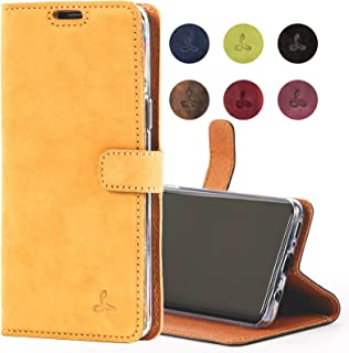 Snakehive Samsung Galaxy S9 Case, Genuine Leather Wallet with Viewing Stand and Card Slots, Flip Cover Gift Boxed and Handmade in Europe for Samsung Galaxy S9 - (Honey Gold)