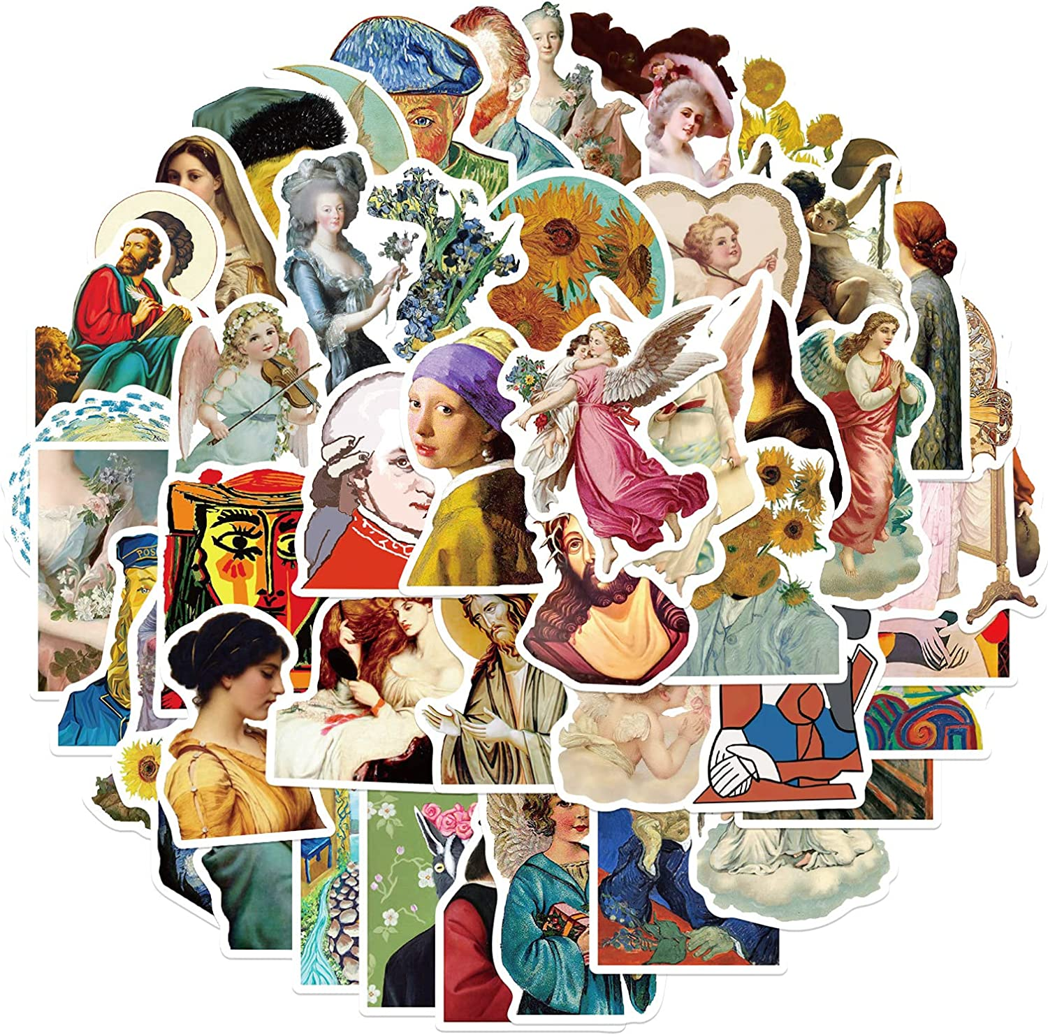 Artist's Famous Paintings Stickers 50 Pcs Made of PVC , Waterproof, Sunscreen, Reusable,Cute, Stylish, Suitable for Drinking Glasses, Laptops, Skateboards, Bicycles, Suitcases, Suitable for Youth.