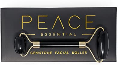 Luxury Black Obsidian Facial Roller | 100% Natural Obsidian Face Roller | Dual Facial Rollers Massager | Anti-Aging Slimming Face Massage Tool | Detoxify + Glow