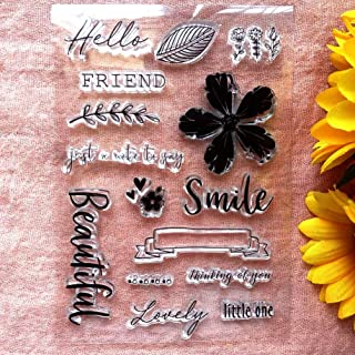 GAWEI Clear Stamps for Scrapbooking and Card Making Words Hello Friend Smile Flowers Transparent Stamps Silicone Stamps Ph...