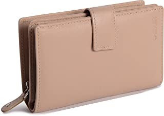 SADDLER Womens Soft Nappa Leather Medium Tab Wallet with Zipper Coin Purse